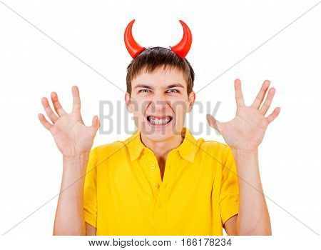 Angry Young Man with Devil Horns on the Head Isolated on the White Background