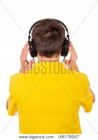 Rear View of the Young Man in Headphones Isolated on the White Background