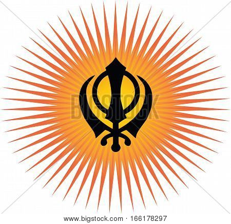 Khanda is the main symbol of Sikhism, transparent background, red and gold sun rays.