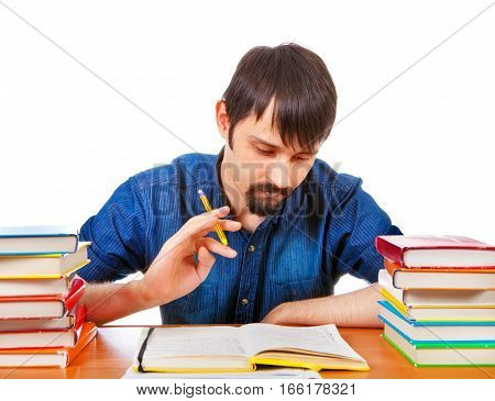 Student with the Books on the Desk Isolated on the White Background