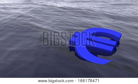 Euro symbol drowning in the ocean economy crisis concept 3D illustration