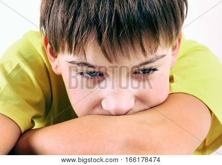 Sad Teenager Portrait on the White Background closeup