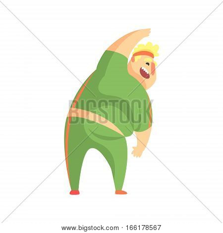 Funny Chubby Man Character Doing Gym Workout Stretching And Smiling Illustration. Sport And Fat Guy Funny Simple Cartoon Drawing Isolated On White Background.