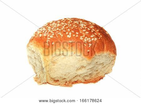 Bun with sesame seeds isolated on white background