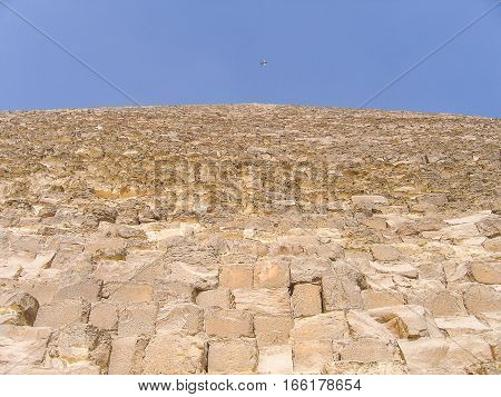 Closeup of the great pyramid of Giza looking up