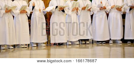 Many Children With The White Tunic During The Ceremony Of The Fi