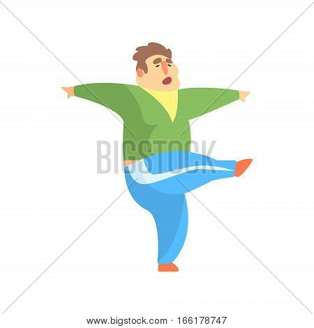 Funny Chubby Man Character Doing Gym Workout Kcking With Leg Illustration. Sport And Fat Guy Funny Simple Cartoon Drawing Isolated On White Background.