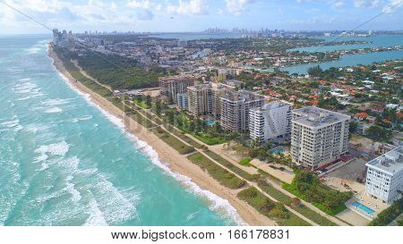 Aerial image of beachfront resorts at Surfside Miami Beach