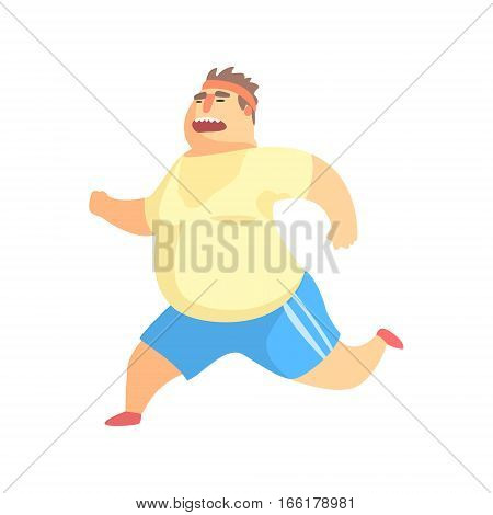 Funny Chubby Man Character Doing Gym Workout Running And Sweating Illustration. Sport And Fat Guy Funny Simple Cartoon Drawing Isolated On White Background.