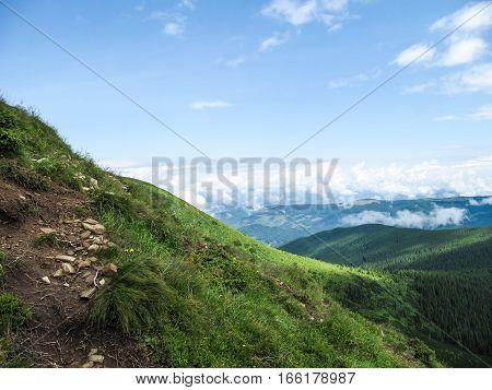 Carpathian mountain landscape summer in Ukraine on Hoverla hike