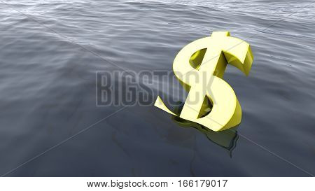 Dollar drowning in the ocean economy crisis concept 3D illustration