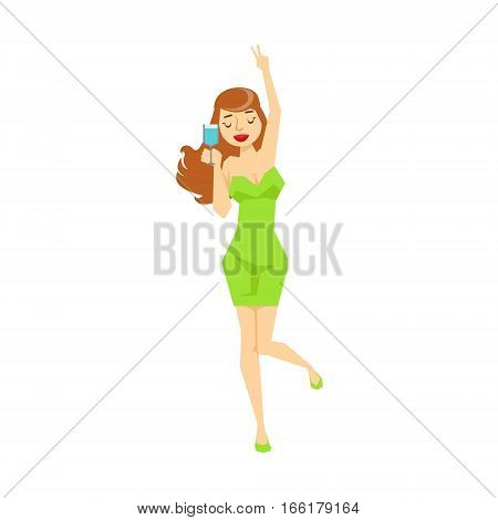 Sexy Girl With Wine Glass In Tight Green Dress Dancing, Part Of Funny Drunk People Having Fun At The Party Series. Simple Flat Cartoon Character Smiling And Having Good Time Vector Illustration.