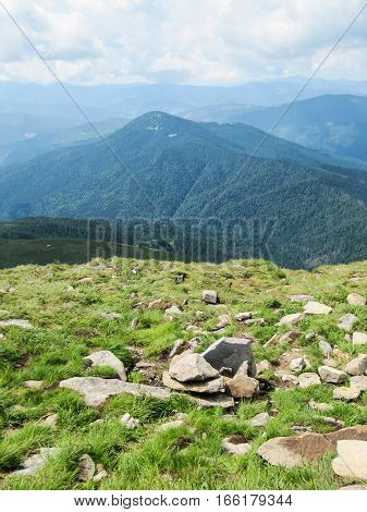 Carpathian mountain landscape summer in Ukraine on Hoverla hike