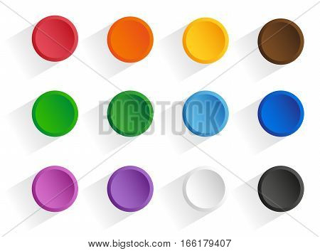Set round multi-colored buttons with shadow. Vector isolated objects on a white background
