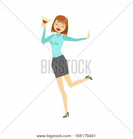 Woman In Office Clothes And Wine Glass Dancing, Part Of Funny Drunk People Having Fun At The Party Series. Simple Flat Cartoon Character Smiling And Having Good Time Vector Illustration.