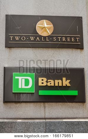 New York, USA - June 18, 2016: TD Bank branch by Two Wall Street in NYC