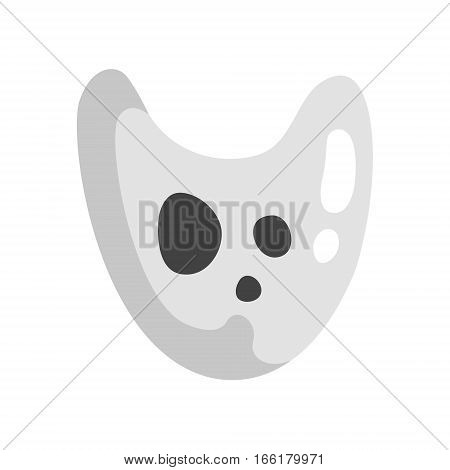White Ghost In Childish Cartoon Manner Isolated On White Background. Cartoon Classic Shapeless Spook Vector Illustration.