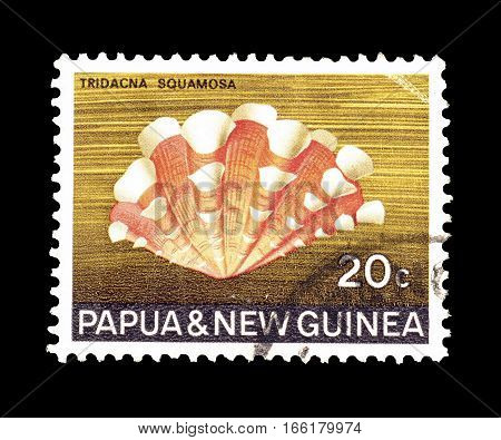 PAPUA NEW GUINEA - CIRCA 1968 : Cancelled postage stamp printed by Papua New Guinea, that shows Fluted Giant Clam.