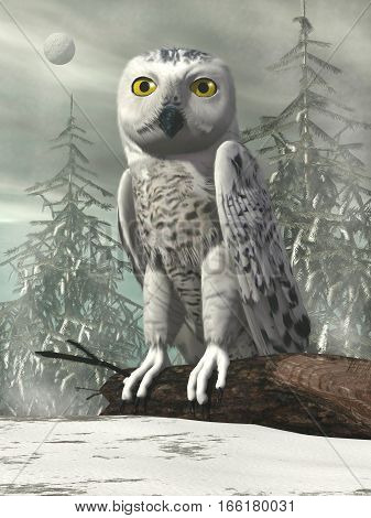 White owl standing on a dead trunk by winter day - 3D render