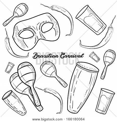 Hand drawn Brazilian Carnival element. Vector illustration Sketchy Brazilian traditional icons