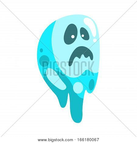 Blue Ghost In Childish Cartoon Manner Isolated On White Background. Cartoon Classic Shapeless Spook Vector Illustration.