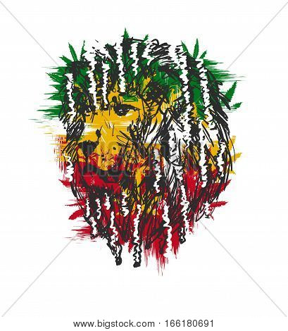 vector illustration depicting a lion with dreadlocks as a symbol of the Rastafarian subculture and the image of Jha on background Flag colors of Jamaica.