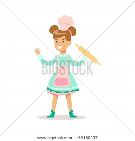 Happy Girl In Classic Girly Color Clothes Smiling Cartoon Character Cooking In Apron With Rolling Pin. Traditional Female Kid Look And Behavior Vector Illustration.