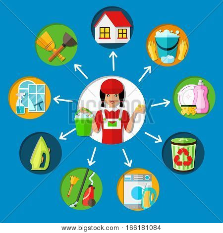 Cleaning conceptual composition with young charwoman character and circumjacent round decorative icons representing different service types vector illustration