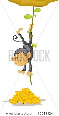 an illustration of a traped monkey