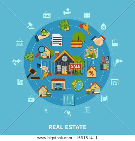 Real estate flat design concept with numerous colorful apartment search and rental icons on blue background vector illustration