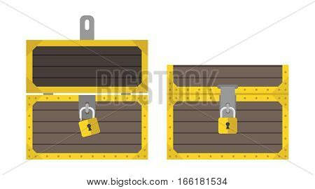Opened and closed chests with padlocks front view isolated on white background. Flat design. Vector illustration. EPS 8 no transparency