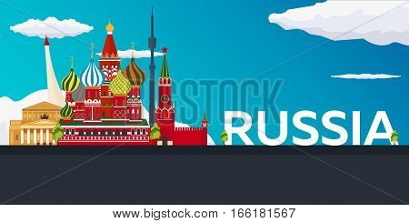 Travel Banner To Russia. Vector Flat Illustration.