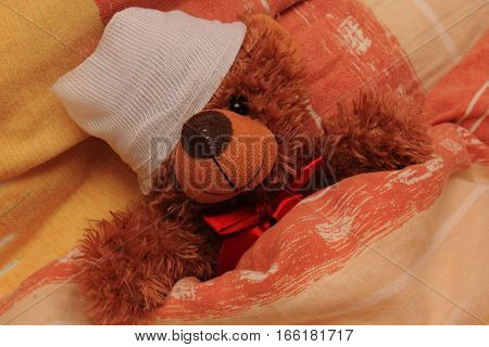 Sick brown bear with a bandage on his head lying in bed