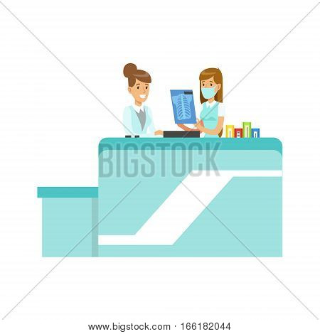 Doctor Showing An X-Ray To Intern, Hospital And Healthcare Illustration. Scene In Public Medical Institution Flat Vector Illustration With Cartoon Characters.