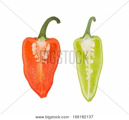Closeup chili peppers on white background. food