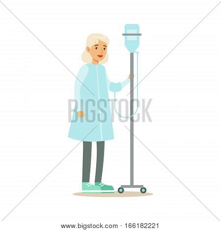 Old Lady Walking In Corridor With Dropper, Hospital And Healthcare Illustration. Scene In Public Medical Institution Flat Vector Illustration With Cartoon Characters.