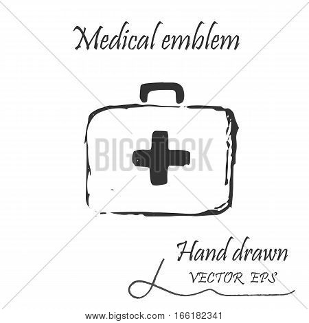 The medical first aid bag icon. This emblem is drawn with a pencil.