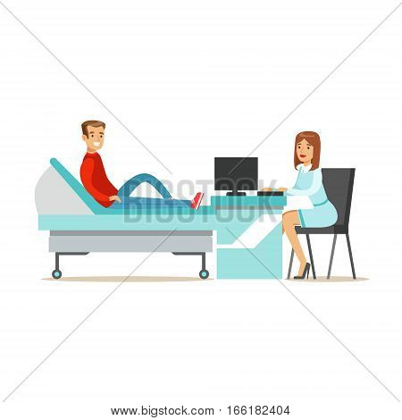 Doctor Collecting Medical History Of A Patient With Computer, Hospital And Healthcare Illustration. Scene In Public Medical Institution Flat Vector Illustration With Cartoon Characters.