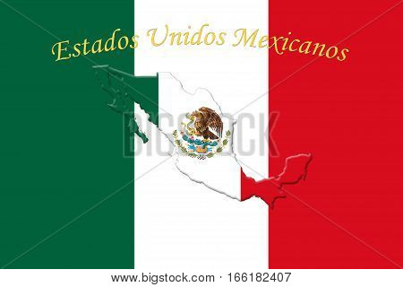 Mexican National Flag With Eagle Coat Of Arms And Text. Estados Unidos Mexicanos,  Meaning United Me