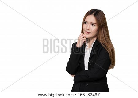 Young Asian businesswoman thinking isolated on white background. image with clipping path.