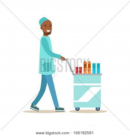 Male Nurse With Food Cart Delivering Food To Patients, Hospital And Healthcare Illustration. Scene In Public Medical Institution Flat Vector Illustration With Cartoon Characters.