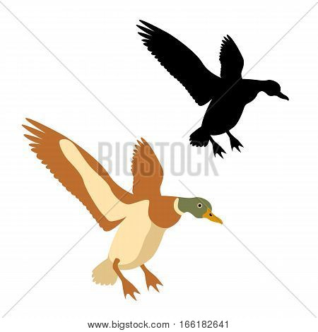 duck vector illustration style Flat set black silhouette