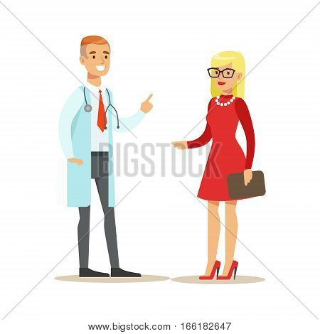 Doctor Speaking To A Patient Discussing Treatment, Hospital And Healthcare Illustration. Scene In Public Medical Institution Flat Vector Illustration With Cartoon Characters.