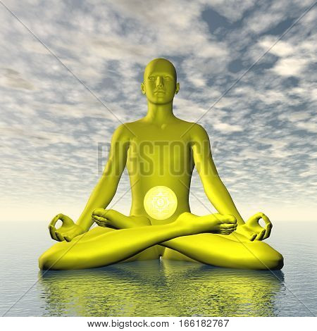 Silhouette of a man meditating with yellow manipura or solar plexus-navel chakra symbol upon ocean in cloudy background - 3D render