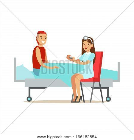 Nurse GIving Pills Prescribed Medication To Patient, Hospital And Healthcare Illustration. Scene In Public Medical Institution Flat Vector Illustration With Cartoon Characters.