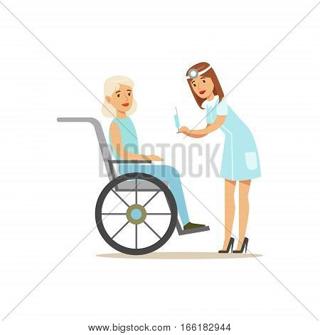 Nurse Preparing Injection For Old Lady In Wheelchair, Hospital And Healthcare Illustration. Scene In Public Medical Institution Flat Vector Illustration With Cartoon Characters.