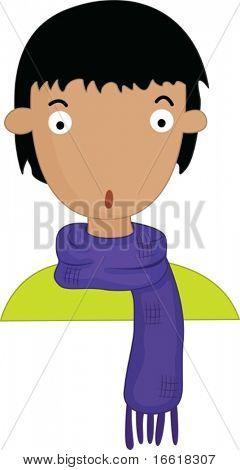 an illustration of a boy wearing a scaf