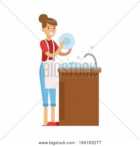Woman Housewife Washing The Dishes In Kitchen Tap, Classic Household Duty Of Staying-at-home Wife Illustration. Smiling Female Character And Her Domestic Affairs Vector Drawing.