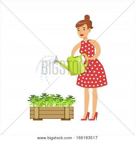 Woman Housewife Watering The Plants In The Pot, Classic Household Duty Of Staying-at-home Wife Illustration. Smiling Female Character And Her Domestic Affairs Vector Drawing.
