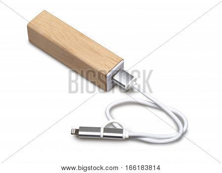 Wooden Portable External Power Bank, For Emergency Phone Recharge.